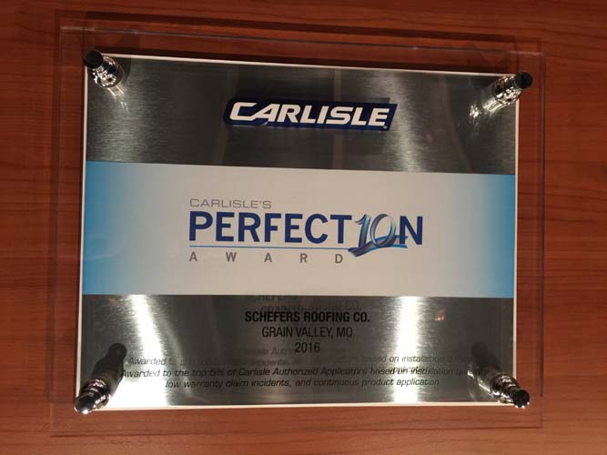 Carlisle Perfection Award Schefers Roofing Co