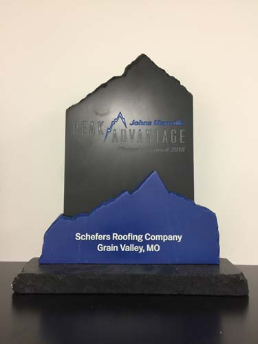 Peak Advantage Award Schefers Roofing Co